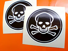 SKULL & CROSSBONES Jolly Roger Car Motorcycle Helmet Stickers Decals 2 off 75mm