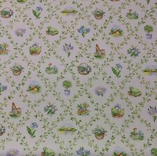 """BLOOMCRAFT LATTICE COUNTRY ROOSTER FROG FLORAL DRAPERY FABRIC BY THE YARD 54""""W"""