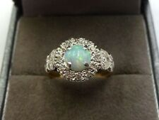 Vintage 18ct Gold & Platinum With Diamonds & Natural Opal Ring Size J