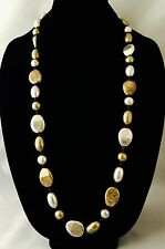 Designer Long Statement Necklace Antiqued Silver Brass Beads Urban Chic r12E