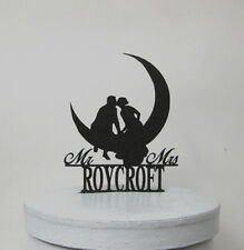 Wedding Cake Topper - Kissing on the Moon Wedding  with Mr & Mrs last name