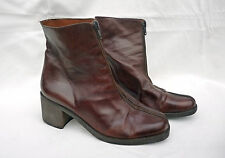 Vintage 1980s/90s Romano Brown Leather Pixie Chelsea Ankle Boots Zip Front  5 38