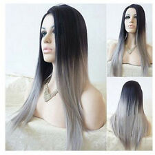 Synthetic Lace Front Wigs Long Straight Bob Black&Pink Hair Heat Resistant