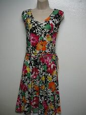 Lauren Ralph Lauren Floral Sleeveless Jersey V-Neck Fit & Flare Dress S New