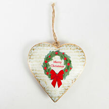 Sass & Belle Traditional Wreath Merry Christmas Heart Hanging Decoration 10x10cm