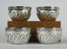 Four solid silver cups, Henry Wilkinson Sheffield 1857. Saki Whisky Quaich