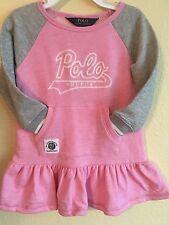 New Ralph Lauren POLO Girls 5t Dress Logo Sweatshirt Pink Nwt