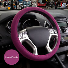 "15"" 38cm Environmental Linen Odorless Automotive Car Steering Wheel Cover Purple"