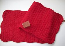 Solid Red Quilted Cotton Table Runner Great Finds 'Scarlet'