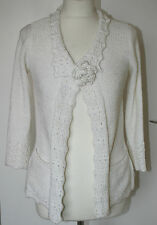 Per Una Small UK8-10 EU36-38 white ribbon knit 3/4 sleeve cardigan with brooch