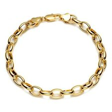 "Hot 18K Yellow Gold Filled Mens/Womens Bracelet Charms Chain 8"" ring Link"