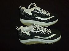 Skechers Shape Ups Black White Womens Suede Leather Comfort Walking Fitness 8.5