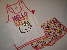 NWT HELLO KITTY sleepwear 2 pc set short women size XL white, pink