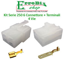 KIT CONNETTORE SERIE 250 6 FASTON MASCHIO FEMMINA 4 VIE + TERMINALE AUTO MOTO