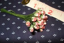 *25 Dark Pink & Cream Rose Buds* Miniature Flowers Barbie / Dollhouse