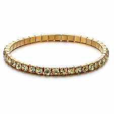1 x 18K Gold Plated Swarovski Element Crystals Flexible Tennis Gold Bracelet