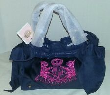 NWT JUICY COUTURE BLUE W/ PINK LOGO VELOUR ONGOING DAYDREAMER PURSE