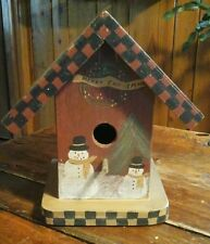 Decorative FolkArt Christmas Handpainted BIRDHOUSE w/checkerboard roof & snowmen
