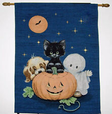 Happy Halloween ~ Teenie Halloweenie Pumpkin/Cat Tapestry Wall Hanging w/Lights
