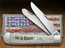 "CASE XX ""He Is Risen"" Natural Bone Trapper Stainless Pocket Knives Knife"