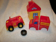 toy Ambulance / car building set and fire hall  use screws and build your cars