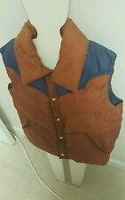 Vintage Brown Blue St. Moritz Insulated Down Feather Winter Puffer Vest - Size M