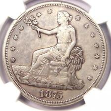 1875-S Trade Silver Dollar T$1 - Certified Ngc Au Detail - Rare Certified Coin!