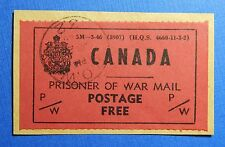 1946 CANADA REVENUE PRISONER OF WAR FRANK VD # PWF6 USED ON PIECE        CS30002