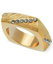 NWT Guess Gold Metal Clear Rhinestones Squared Band Ring, Size 7