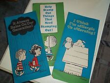 3 Antique Paper United Feature Syndicate Peanuts Snoopy C Brown Lucy Posters