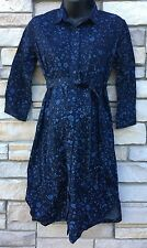 Gap S Dress MATERNITY Blue Floral Button Down Belted Mid-Calf 100% Cotton  NWT