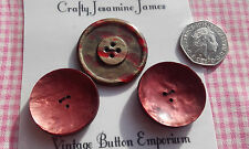 3 Large Red Blemish Vintage Art Deco Buttons 32 & 38mm Craft Sewing 3 & 4 Hole