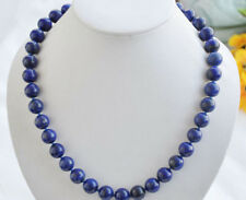 New 10mm Real Natural Egyptian Lapis Lazuli Gemstone Necklace 18'' AAA