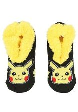 Pokemon Go Pikachu Cozy Fluffy Faux Fur Lined Slipper Socks Anti Slip Gift NWT!