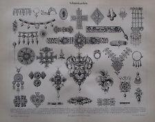 1889 SCHMUCKSACHEN SCHMUCK alter Druck Antique Print Lithographie