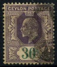Ceylon 1904 SG#285, 30c Violet & Green KEVII Used #D42007