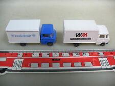 H972-0,5# 2x WIKING H0 LKW; MB/Mercedes Frischdienst+WM Fleisch+Wurstwaren
