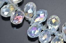 98x 14mm Clear AB Teardrop Briolette Top-drilled Faceted Cut Glass Crystal Beads
