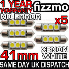 5x 41mm NUMBER PLATE INTERIOR 6000k BRIGHT WHITE 3 SMD LED C5W 264 FESTOON BULB