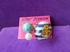 Betsey Johnson Authentic NWT Gold-Tone Ship Shape Crystal Anchor Striped Ring