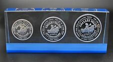 Rare 1986 Caesars Palace Casino .999 Silver Token Set $1-$5-$25 20th Anniversary