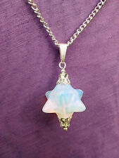 LARGE MOONSTONE MERKABA PENDANT & NECKLACE CHAIN Crown Chakra FREE Gift Bag