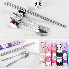 Spoon Fork Travel Folded Chopsticks Tableware 3in1 Cutlery Set Stainless Steel
