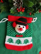 KNITTED DRAW STRING GOODY BAG SNOWMAN PLUSH HEAD FOR CANDY,GIFTS,COOKIES,BREAD