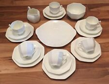Fabulous Art Deco Royal Doulton Octagonal 21Pc Plain White Tea Set