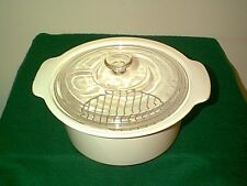 CORNING WARE / VISION WARE WHITE 5 QT DUTCH OVEN / STOCK POT WITH RACK & LID