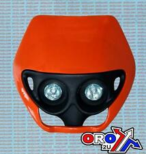 Orange Universal Trail MX Twin Front Headlight Unit Assembly Light + Fitting Kit