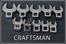 CRAFTSMAN HAND TOOLS 10pc FULL POLISH METRIC Crowfoot Crowsfoot Wrench set !
