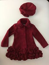 KATE MACK Designer red Maroon 2 Piece Jacket & Hat  Age 3 Years Girls Fleece