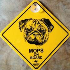 12cm Roadsign Schild mit Saugnapf MOPS warnschild hund